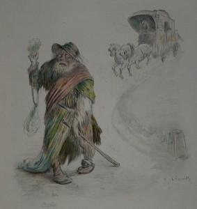 Illustration de Charles Léandre pour le livre Madame Bovary de Flaubert, gravé à l'eau-forte en couleur par Eugène Decisy. Illustration de la page 295 : Le pauvre diable